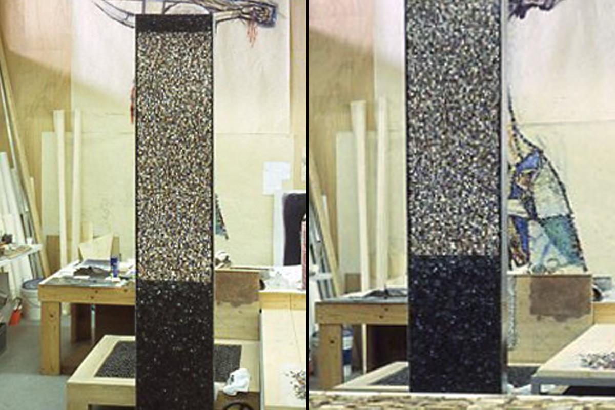 Steli bifacciali realizzate da Giulio Candussio, per il Museo di Arte Moderna di Udine