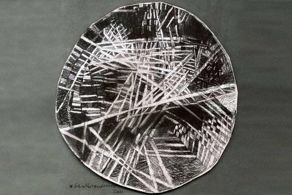 Tensioni nel cerchio a Torino è un Mosaico di grande dimensione realizzato da Giulio Candussio come opera di art park per il centro ricerche Fiat.