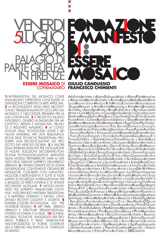 Manifesto Essere mosaico realizzato da giulio Candussio e presentato a Firenze nell' edificio di Fortezza da Basso